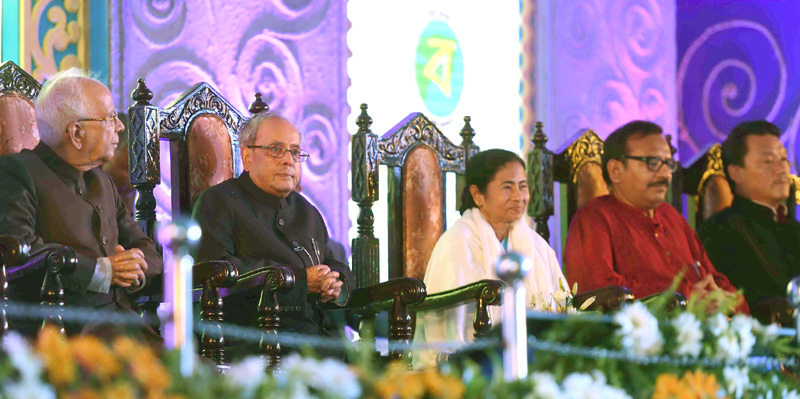 The President, Mr. Pranab Mukherjee attending the State Reception being hosted in honour of him, at Chowrasta (The Mall), in Darjeeling, West Bengal on July 12, 2016. The Governor of West Bengal, Mr. Keshari Nath Tripathi and the Chief Minister of West Bengal, Ms. Mamata Banerjee are also seen.