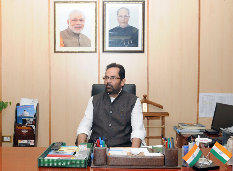 Mr. Mukhtar Abbas Naqvi takes charge as the Minister of State (Independent Charge) for Minority Affairs, in New Delhi on July 13, 2016.