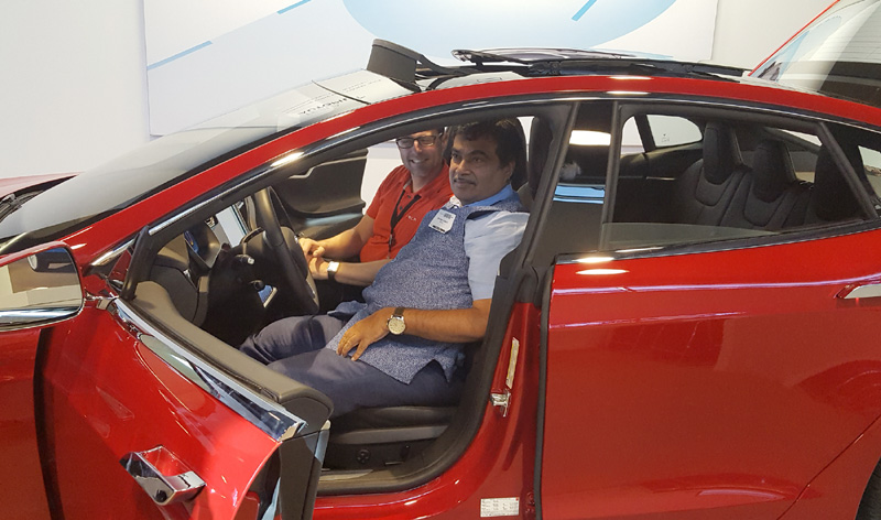 The Union Minister for Road Transport & Highways and Shipping, Mr. Nitin Gadkari visiting the Tesla electric car manufacturing unit, in San Francisco on July 15, 2016.