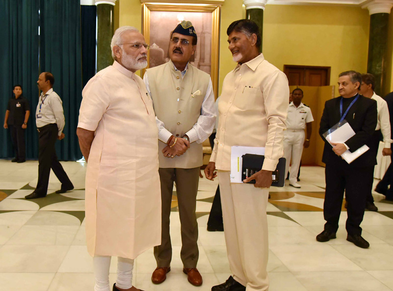 The Prime Minister, Mr. Narendra Modi meeting the AP Chief Minister Mr. N Chandra Babu Naidu and other dignitaries before eleventh Inter-State Council Meeting, at Rashtrapati Bhavan, in New Delhi on July 16, 2016.