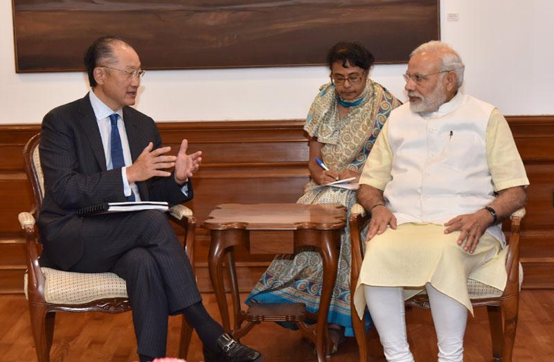The President, World Bank, Mr. Jim Yong Kim calling on the Prime Minister, Mr. Narendra Modi , in New Delhi on June 30, 2016.