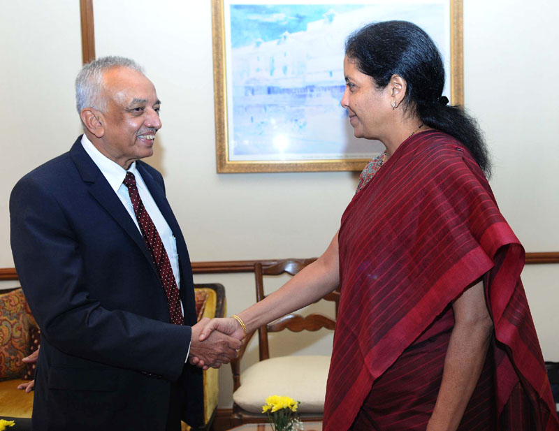 The Minister of State for Commerce & Industry (Independent Charge), Mrs. Nirmala Sitharaman in a bilateral meeting with the Minister of Development Strategies and International Trade, Sri Lanka Mr. Malik Samarawickrama, in New Delhi on July 04, 2016.