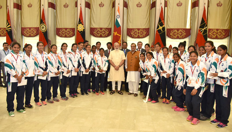 The Prime Minister, Mr. Narendra Modi in a group photograph with the Athletes who shall be representing India at forthcoming Rio Olympic Games, in New Delhi on July 04, 2016.