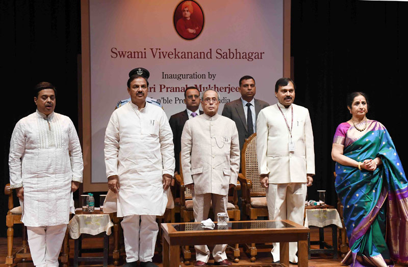 The President, Mr. Pranab Mukherjee at the inauguration of the Swami Vivekananda Sabhagar at Kathak Kendra of Sangeet Natak Akademi, at Kathak Kendra, Chanakyapuri, in New Delhi on July 04, 2016. The Minister of State for Culture (Independent Charge), Tourism (Independent Charge) and Civil Aviation, Dr. Mahesh Sharma, the Secretary, Ministry of Culture, Mr. N.K. Sinha and other dignitaries are also seen.