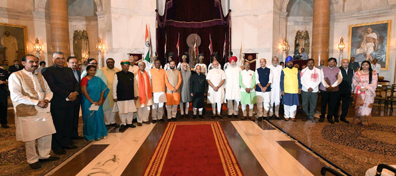 The President, Mr. Pranab Mukherjee, the Vice President, Mr. M. Hamid Ansari and the Prime Minister, Mr. Narendra Modi with the newly inducted Ministers after a Swearing-in Ceremony, at Rashtrapati Bhavan, in New Delhi on July 05, 2016.