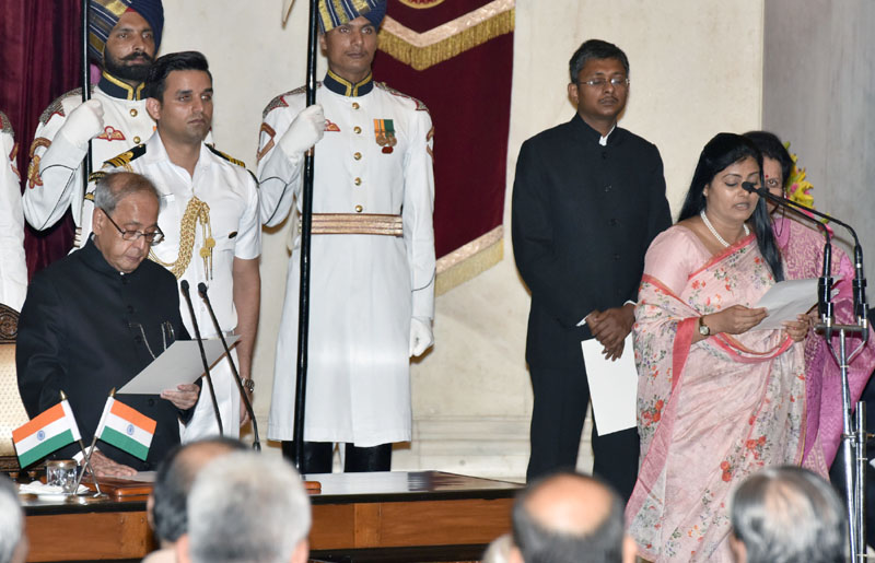 The President, Mr. Pranab Mukherjee administering the oath as Minister of State to Mrs. Anupriya Patel, at a Swearing-in Ceremony, at Rashtrapati Bhavan, in New Delhi on July 05, 2016.