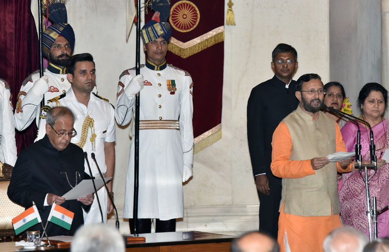 The President, Mr. Pranab Mukherjee administering the oath as Cabinet Minister to Mr. Prakash Javadekar, at a Swearing-in Ceremony, at Rashtrapati Bhavan, in New Delhi on July 05, 2016.