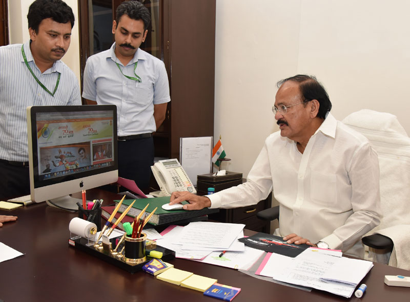 The Union Minister for Urban Development, Housing & Urban Poverty Alleviation and Information & Broadcasting, Mr. M. Venkaiah Naidu launching the special webpage on the festival of Independence 2016, in New Delhi on August 10, 2016.
