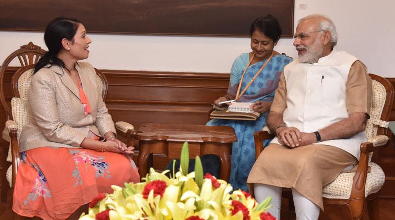 The Secretary of State for International Development, United Kingdom, Ms. Priti Patel calling on the Prime Minister, Mr. Narendra Modi, in New Delhi on August 13, 2016.