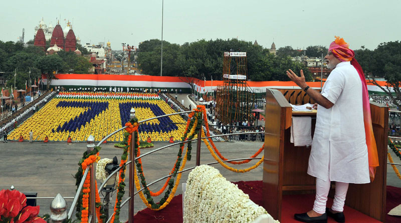 The Prime Minister, Mr. Narendra Modi addressing the Nation on the occasion of 70th Independence Day from the ramparts of Red Fort, in Delhi on August 15, 2016.