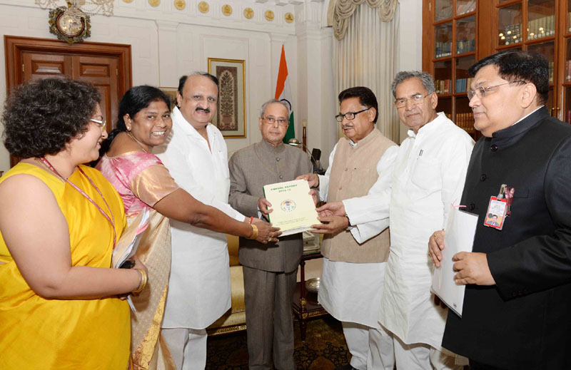 The President, Mr. Pranab Mukherjee receiving the annual report for the period 2015-2016 by the Dr. P.L. Punia, Chairman along-with the Vice Chairman, Members and other officers of the National Commission for Schedule Castes, at Rashtrapati Bhavan, in New Delhi on August 16, 2016.