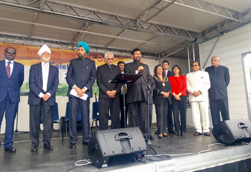 The Union Minister for Consumer Affairs, Food and Public Distribution, Mr. Ram Vilas Paswan addressing at the Independence Day function, organised by the Indian High Commission, in London on August 21, 2016.