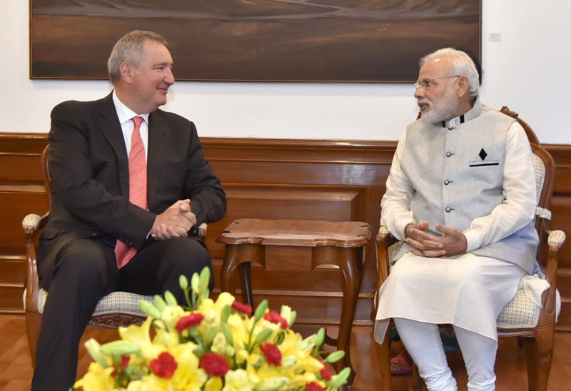 The Deputy Prime Minister of Russia, Mr. Dmitry Rogozin calls on the Prime Minister, Mr. Narendra Modi, in New Delhi on August 20, 2016.