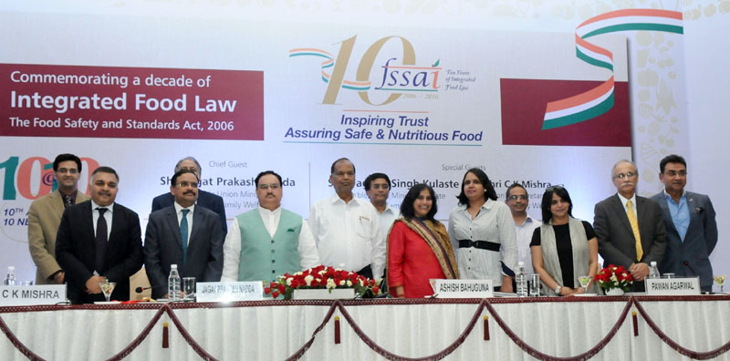 The Union Minister for Health & Family Welfare, Mr. J.P. Nadda at the commemorative event to mark a decade of Integrated Food Law: The Food Safety and Standard Act, 2006, in New Delhi on August 22, 2016.The Secretary (Health), Mr. C.K. Mishra and other dignitaries are also seen.