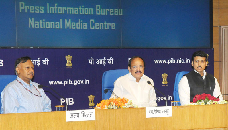 The Union Minister for Urban Development, Housing & Urban Poverty Alleviation and Information & Broadcasting, Mr. M. Venkaiah Naidu addressing the senior officers of the Ministry of Information & Broadcasting and Media Units, in New Delhi on July 29, 2016. The Minister of State for Information & Broadcasting, Col. Rajyavardhan Singh Rathore and the Secretary, Ministry of Information & Broadcasting, Mr. Ajay Mittal are also seen.