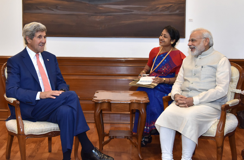 The Secretary of State of the United States of America, Mr. John Kerry calls on the Prime Minister, Mr. Narendra Modi, in New Delhi on August 31, 2016.