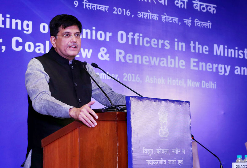 The Minister of State for Power, Coal, New and Renewable Energy and Mines (Independent Charge), Mr. Piyush Goyal addressing the Senior Officers of the Ministries of Power, Coal, New and Renewable Energy and Mines, in New Delhi on September 09, 2016.