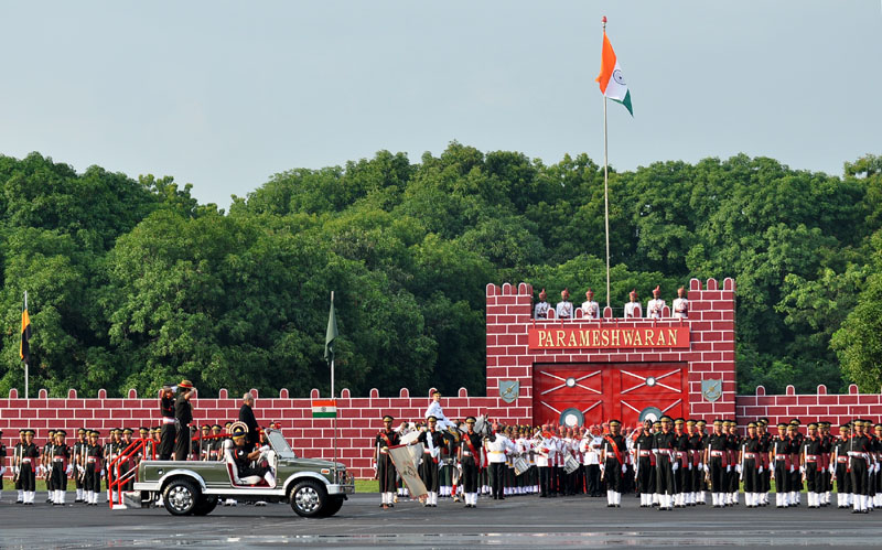 The President, Mr. Pranab Mukherjee inspecting the Guard of Honour at the passing out parade of the summer term, in Chennai, Tamil Nadu on September 10, 2016.