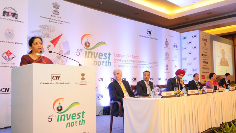 The Minister of State for Commerce & Industry (Independent Charge),Mrs. Nirmala Sitharaman addressing the inaugural session of the Invest North Summit, in New Delhi on September 22, 2016. The Secretary, DIPP, Mr. Ramesh Abhishek is also seen.