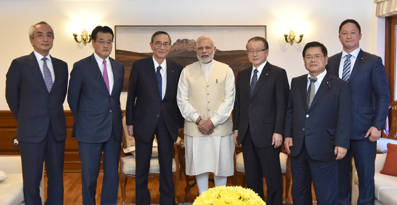 The Chairman of the General Council of Liberal Democratic Party of Japan, Mr. Hiroyuki Hosoda along with the Members of the Japan-India Parliamentarians Friendship League, calls on the Prime Minister, Mr. Narendra Modi, in New Delhi on September 23, 2016.