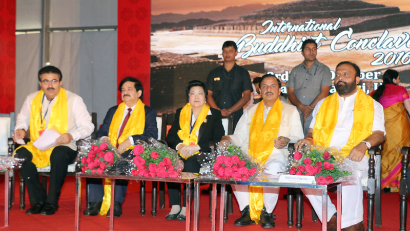 The Minister of State for Culture and Tourism (Independent Charge), Dr. Mahesh Sharma at the opening session of the International Buddhist Conclave-2016, in Sarnath, Uttar Pradesh on October 04, 2016. The Tourism Minister, Uttar Pradesh, Mr. Om Prakash, the Secretary, Ministry of Tourism, Mr. Vinod Zutshi and other dignitaries are also seen.