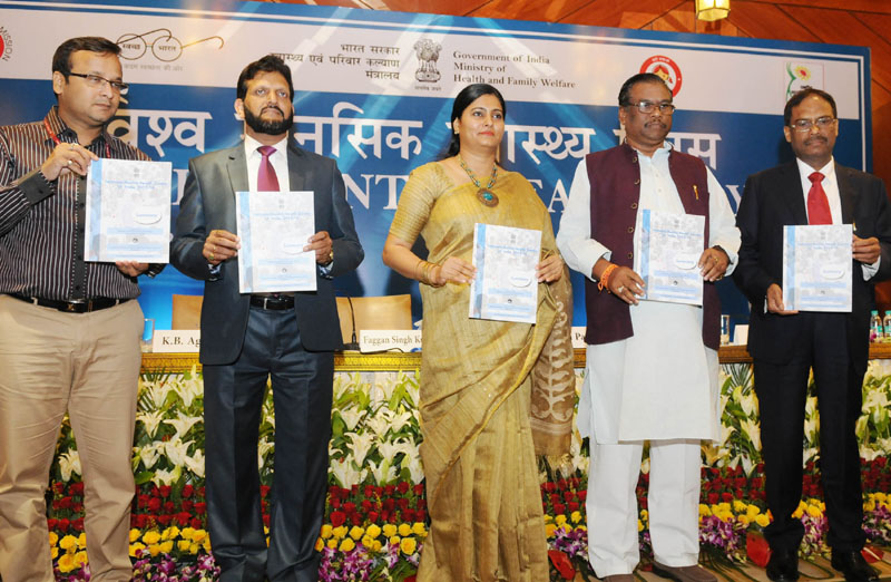 The Ministers of State for Health & Family Welfare, Mr. Faggan Singh Kulaste and Mrs. Anupriya Patel releasing the Executive Summary of National Mental Health Survey, on World Mental Health Day 2016, in New Delhi on October 10, 2016. The DGHS, Dr. Jagdish Prasad is also seen.