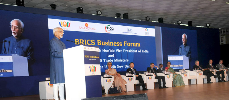 The Vice President, Mr. M. Hamid Ansari addressing the gathering after inaugurating the First BRICS Trade Fair, in New Delhi on October 13, 2016. The Minister of State for Commerce & Industry (Independent Charge), Mrs. Nirmala Sitharaman, the Minister of Industry, Foreign Trade and Services, Brazil, Mr. Marcos Pereira, the Minister of Trade and Industry, Russia, Mr. Denis Monturov, the Minister of Trade and Industry, South Africa, Dr. Rob Davies, the Vice Minister of Finance and Commerce, China, Mr. Wang Shouwen are also seen.