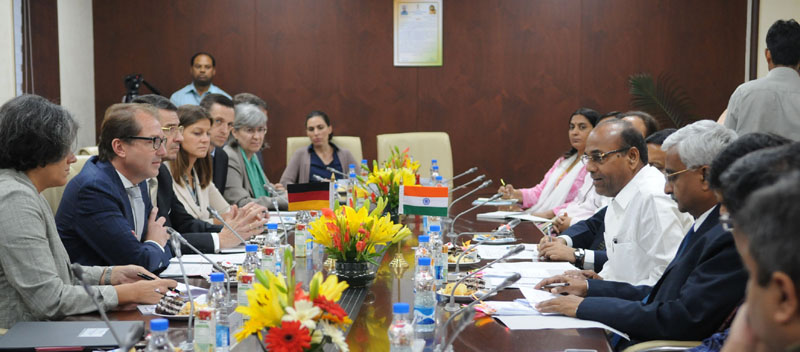 A German delegation led by the Federal Minister of Transport and Digital Infrastructure of the Federal Republic of Germany, Mr. Alexander Dobrindt meeting the Union Minister for Heavy Industries and Public Enterprises, Mr. Anant Geete, in New Delhi on October 14, 2016.