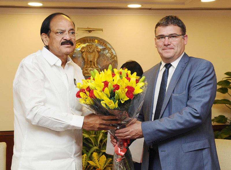 The French Minister of State for Industry, Mr. Christophe Sirugue calling on the Union Minister for Urban Development, Housing & Urban Poverty Alleviation and Information & Broadcasting, Mr. M. Venkaiah Naidu, in New Delhi on October 25, 2016.