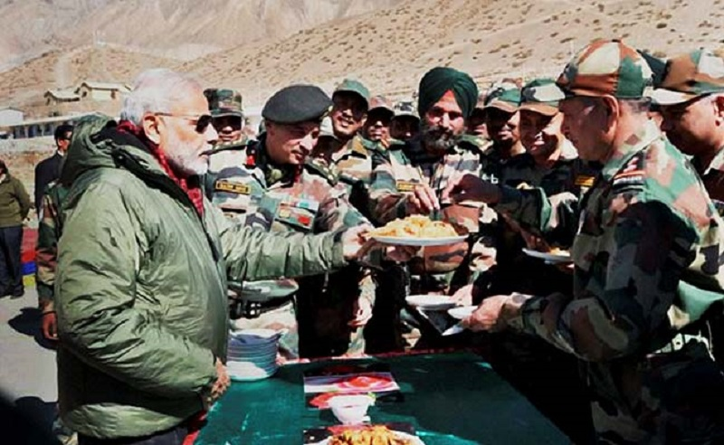 PM Modi celebrated Diwali with the army and ITBP personnel in Himachal Pradesh. (Source: PTI/NDTV)