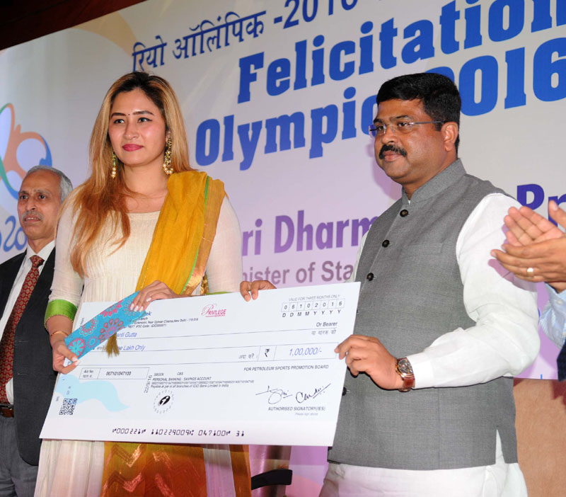 The Minister of State for Petroleum and Natural Gas (Independent Charge), Mr. Dharmendra Pradhan felicitated the Rio Olympic-2016 Players, at the felicitation function of the Olympians/Participants of the Rio Olympic-2016, in New Delhi on October 06, 2016. The Secretary, Ministry of Petroleum and Natural Gas, Mr. K.D. Tripathi is also seen.