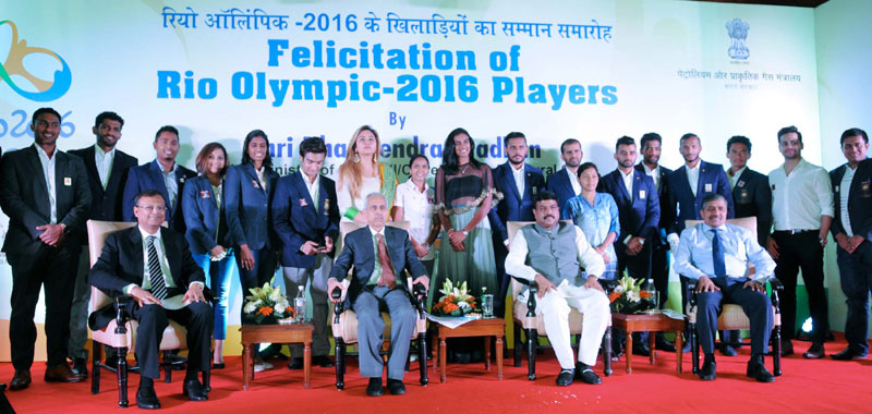 The Minister of State for Petroleum and Natural Gas (Independent Charge), Mr. Dharmendra Pradhan at the felicitation function of the Olympians/Participants of the Rio Olympic-2016, in New Delhi on October 06, 2016. The Secretary, Ministry of Petroleum and Natural Gas, Mr. K.D. Tripathi and other dignitaries are also seen.