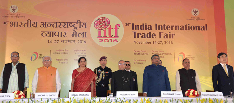 The President, Shri Pranab Mukherjee inaugurated the 36th India International Trade Fair (IITF-2016), at Pragati Maidan, in New Delhi on November 14, 2016. The Union Minister for Electronics & Information Technology and Law & Justice, Shri Ravi Shankar Prasad, the Chief Minister of Haryana, Shri Manohar Lal Khattar, the Minister of State for Commerce & Industry (Independent Charge), Smt. Nirmala Sitharaman and other dignitaries are also.