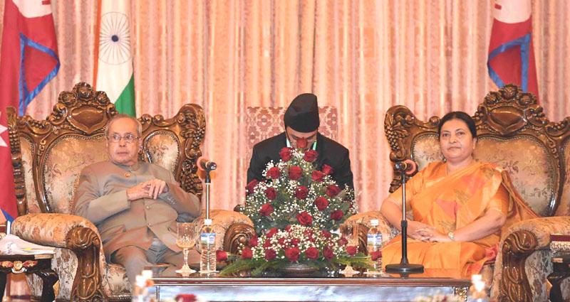 The President of Nepal, Ms. Vidhya Devi Bhandari calling on the President, Mr. Pranab Mukherjee, at Shital Niwas, in Kathmandu, Nepal on November 02, 2016.