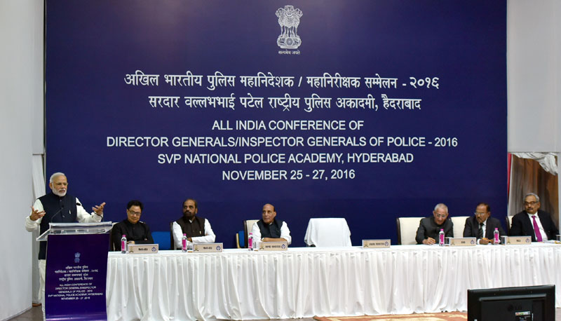 The Prime Minister, Mr. Narendra Modi addressing at the Annual Conference of DGs/IGs of Police, in Hyderabad on November 26, 2016.