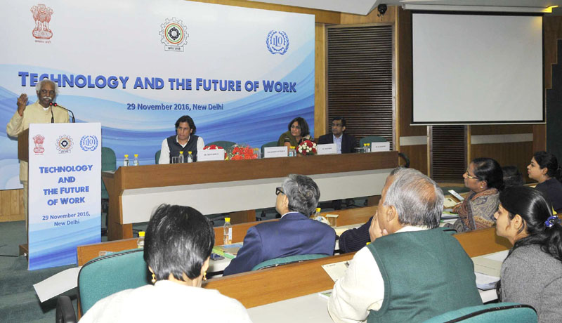 The Minister of State for Labour and Employment (Independent Charge), Mr. Bandaru Dattatreya addressing at the Special event on Technology and the Future of Work, organised by the Ministry of Labour and Employment, joint ILO and VVGNLI, in New Delhi on November 29, 2016.