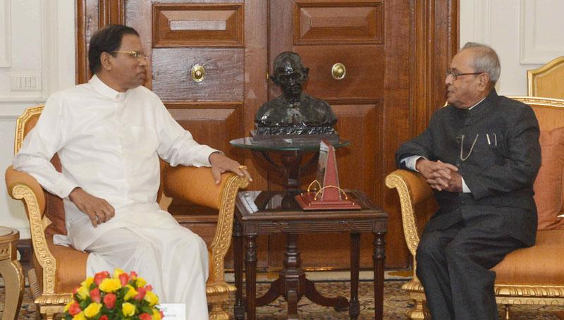 The President of the Democratic Socialist Republic of Sri Lanka, Mr. Maithripala Sirisena calling on the President, Mr. Pranab Mukherjee, at Rashtrapati Bhavan, in New Delhi on November 06, 2016.